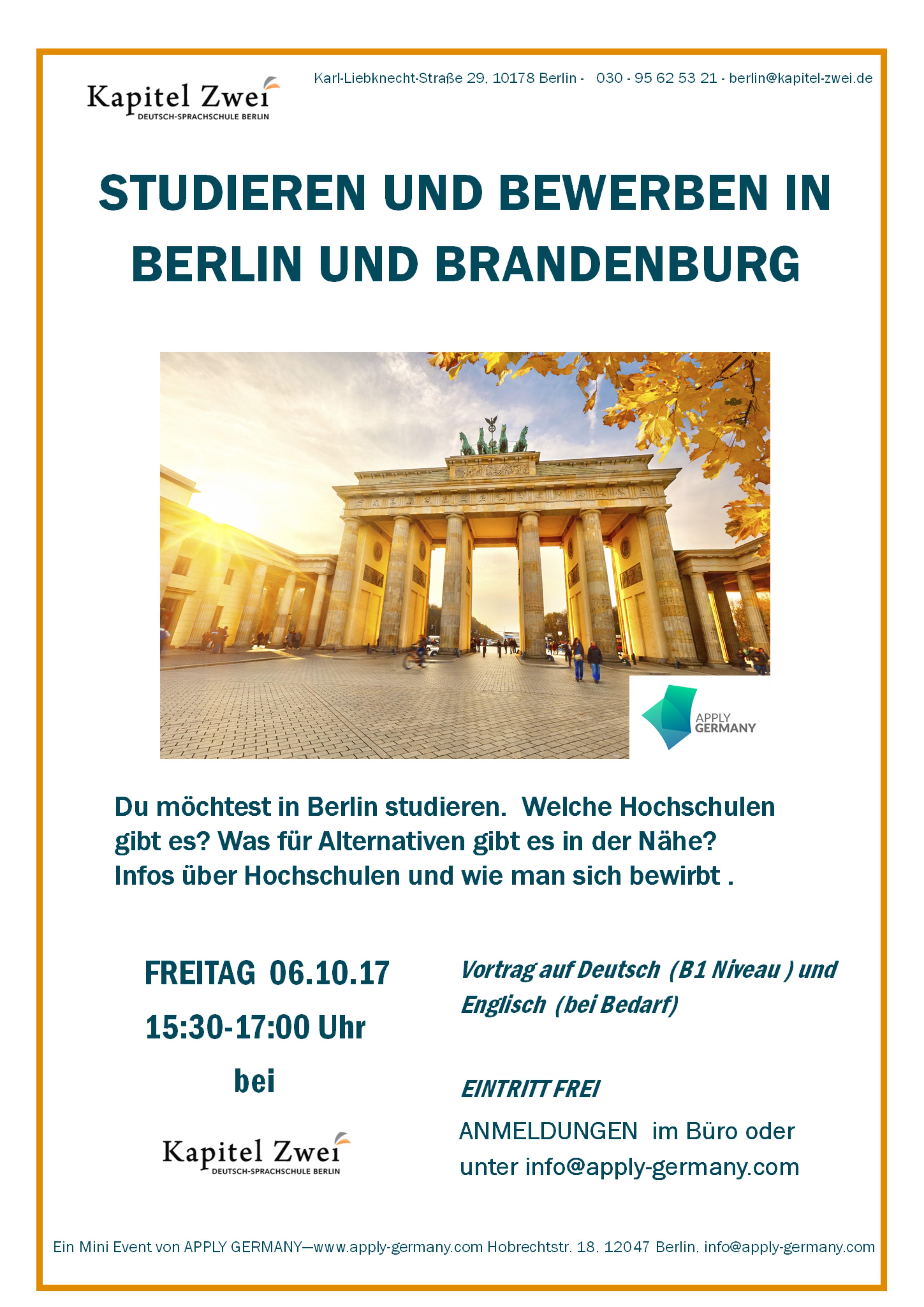 Studieren Berlin und Brandenburg Oktober