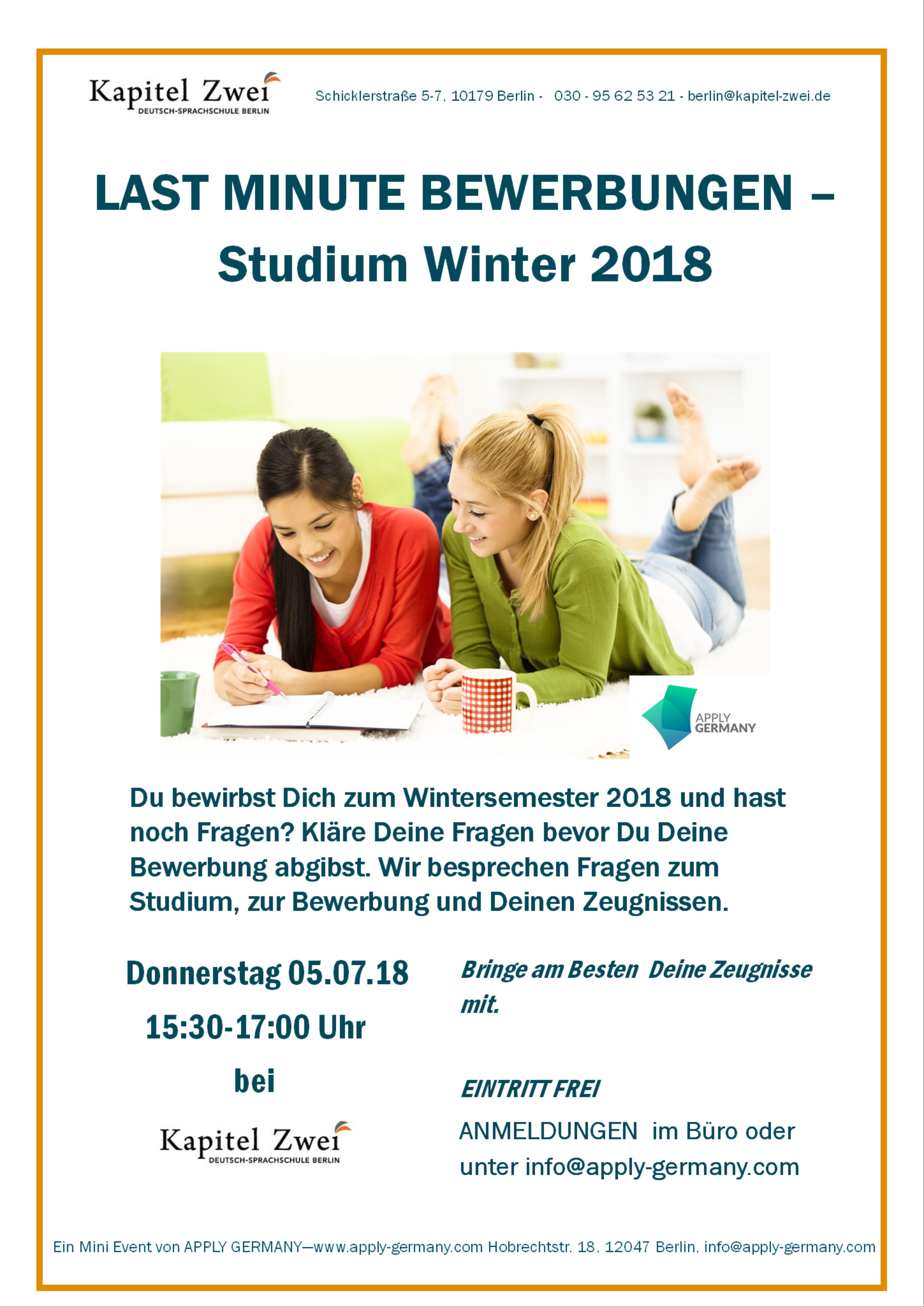 Last Minute Bewerbungen Uni Berlin Sprachschule Deutsch Kapitel Zwei
