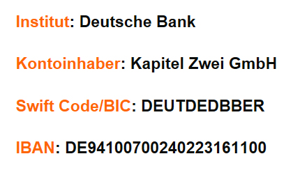 Kapitel Zwei Bankdaten