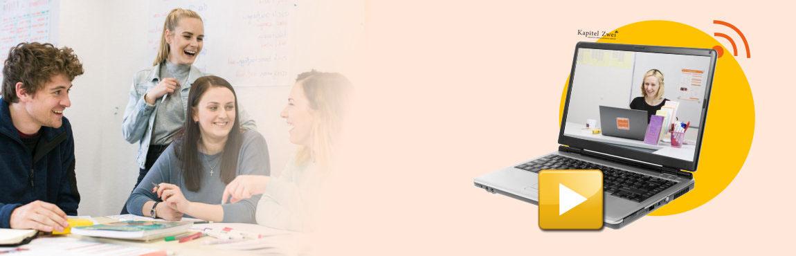 Deutsch lernen Berlin online und realer Klassenraum