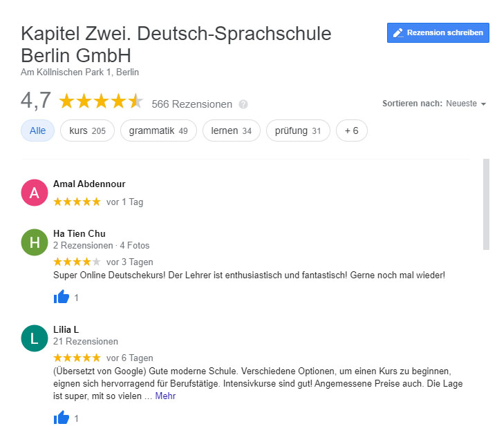 google reviews Kapitel Zwei