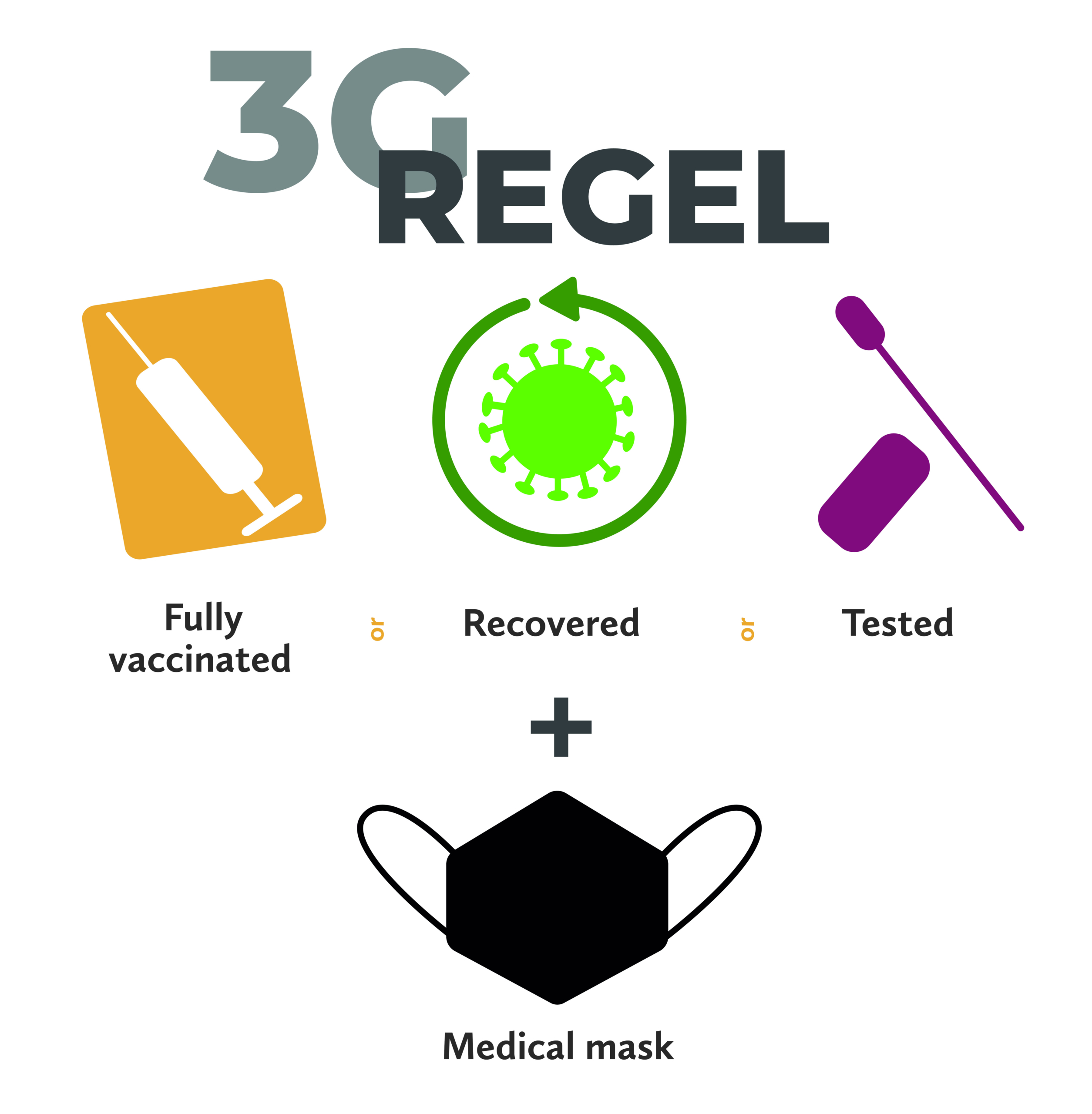 3G Regel Vaccinated Recovered Tested medical mask